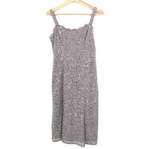 NEW R&M Richards Petite Sleeveless Cocktail Prom Dress Silver Sparkle Lace 4 4P